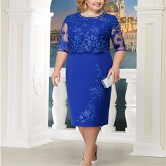 5XL Sexy Dresses Patchwork Women Hollow Out Lace Vintage Dresses Bodycon Vestido Dress Big Size s plus size blue beautiful