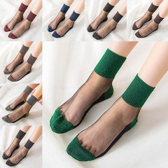 High Quality Unbreakable Crystal Women Sexy Short Silk Stockings green free size