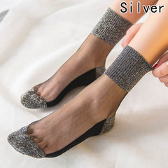 High Quality Unbreakable Crystal Women Sexy Short Silk Stockings sliver free size