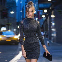 Hollow Out Dresses Celebrities Liked High Neck Sexy Shoulder Star Style Sweater Party Dresses m plus size as shown
