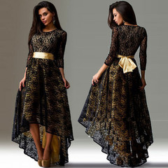Dresses High-Grade Maxi Long Sleeve Waistband Party Lace Hollow Out Formal Wedding Irregular Dresses 2xl plus size black elegant dress