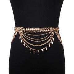 Star Style Bling Women Adjustable Gold Metal Waist Belt Buckle Plate Metallic Waistband for Dresses