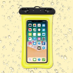 Universal Waterproof Cellphone Pouch for 6'' Phone Dry Bag Yellow IPX68 TPU as shown with strap