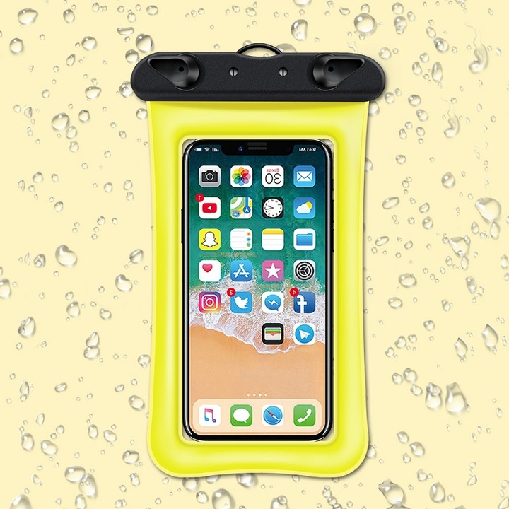 Universal Waterproof Cellphone Pouch for 6'' Phone Dry Bag Swimming Yellow IPX68 TPU as shown with strap