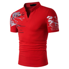 Handsome Mens Casual Tee Shortsleeved Printed Shirt red high quality m polo cotton low price