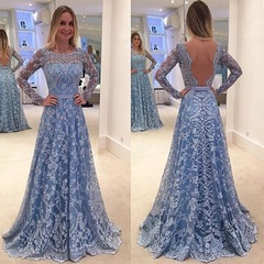 Long Dresses Women Casual Evening Party Dress Gown Lace Chiffon Flora Long Sleeve Cocktail Dress s plus size as shown