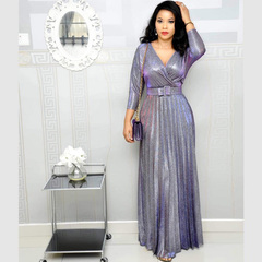 Bling Maxiskit V-Neck Casual Long Dresses Designs with Belt wear to Wedding Party Club Work m purple