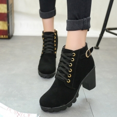 Round Head Martin Boots High Heel Belt Buckles Lady Thick Heel Short Boots Lacing Shoes Autumn black 35
