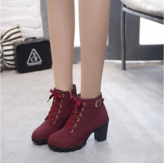 Womens Ankle Boots Lace Up High Heel Comfort Fashion Buckle Martin Boots Womens Shoes  35-41 Size Wine Red 40