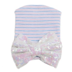 Baby Hat Sequin Bow-Tie Hat StripedKnitted Baby Christmas Gift 1# 12CM*10CM