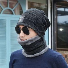 Men's Knitted Hat Fleece Thick Wool Hat Cover Head Hat Warm Hat Winter Black Free Size