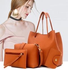 Women Handbags 4 Pcs/Set  PU Leather Zipper Handbag Solid Shoulder Messenger Bag Purse (4 Colors) brown sets bags