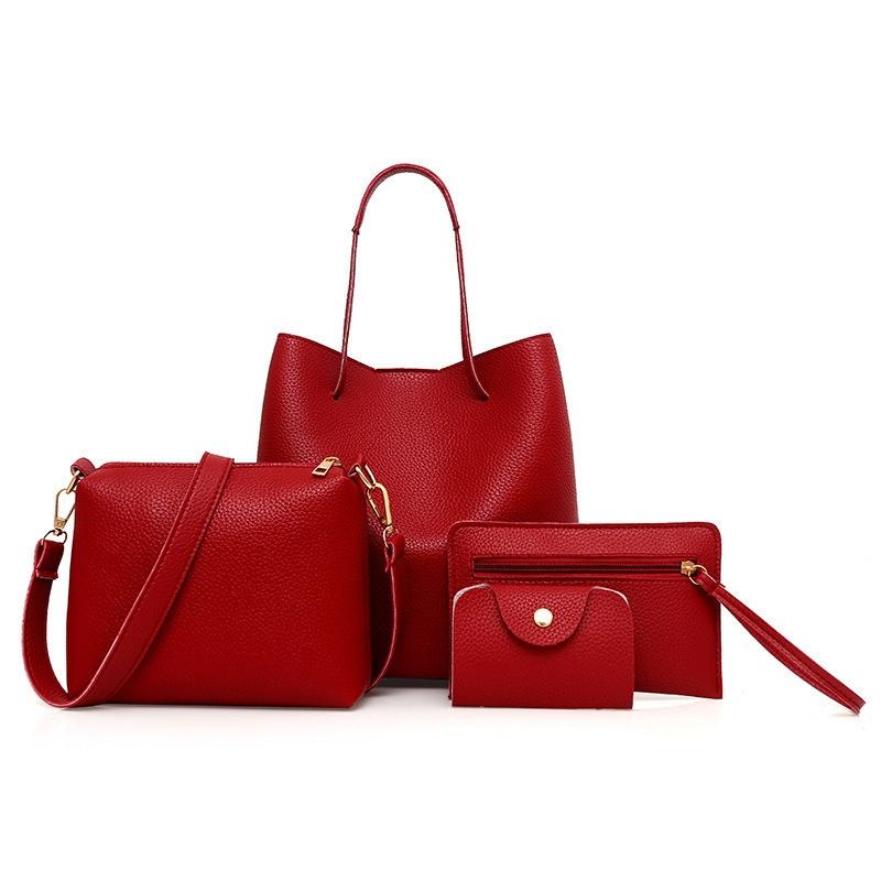 34b88831ff Women Handbags 4 Pcs Set PU Leather Zipper Handbag Solid Shoulder ...