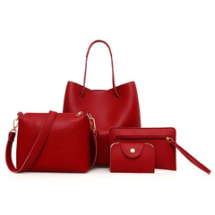 Women Handbags 4 pcs PU Leather Graceful Solid Color Luxury Single Shoulder Crossbody Bags Red Sets Bags