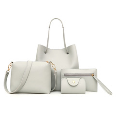 Women Handbags 4 pcs PU Leather Graceful Solid Color Luxury Single Shoulder Crossbody Bags Gray Sets Bags