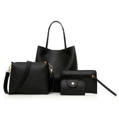 Women Handbags 4 pcs PU Leather Graceful Solid Color Luxury Single Shoulder Crossbody Bags Black Sets Bags