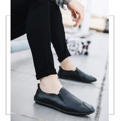 Loafers Shoes Men's Casual Leather Shoes Slip-On  Shoes Breathable Driving Shoes Fashion Slipper black 40