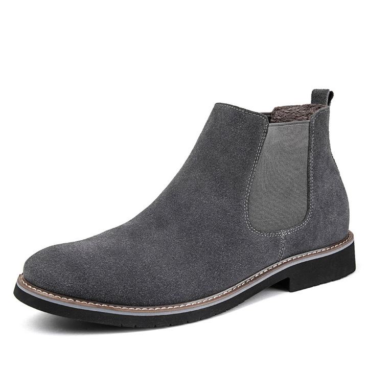 Men's Chelsea Boots Flat Martin Boots Genuine Leather Daily Casual Men's Shoes gray 39
