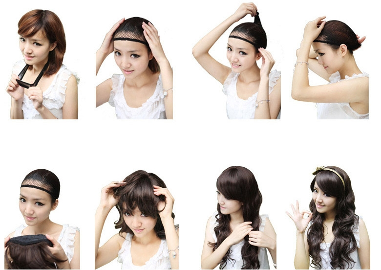 Fashionable Lady Black Short Straight Hair In Cent Bang BoBo Wigs Head Set black as picture 5