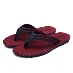 Men's Classical Flip-Flops Casual Sporty Sandal Shoes Comfortable Handmade Fashion Indoor Outdoor Wine Red 42