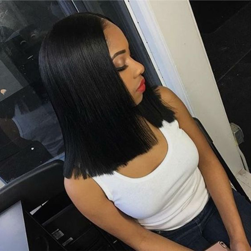 Fashionable Lady Black Short Straight Hair In Cent Bang BoBo Wigs Head Set black as picture 2