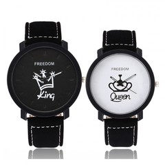 Watches 2 Pieces Suit Couple King/Queen Lovers Casual Quartz Watch Couple's Valentine's Day Gift King Black + Queen White One Size