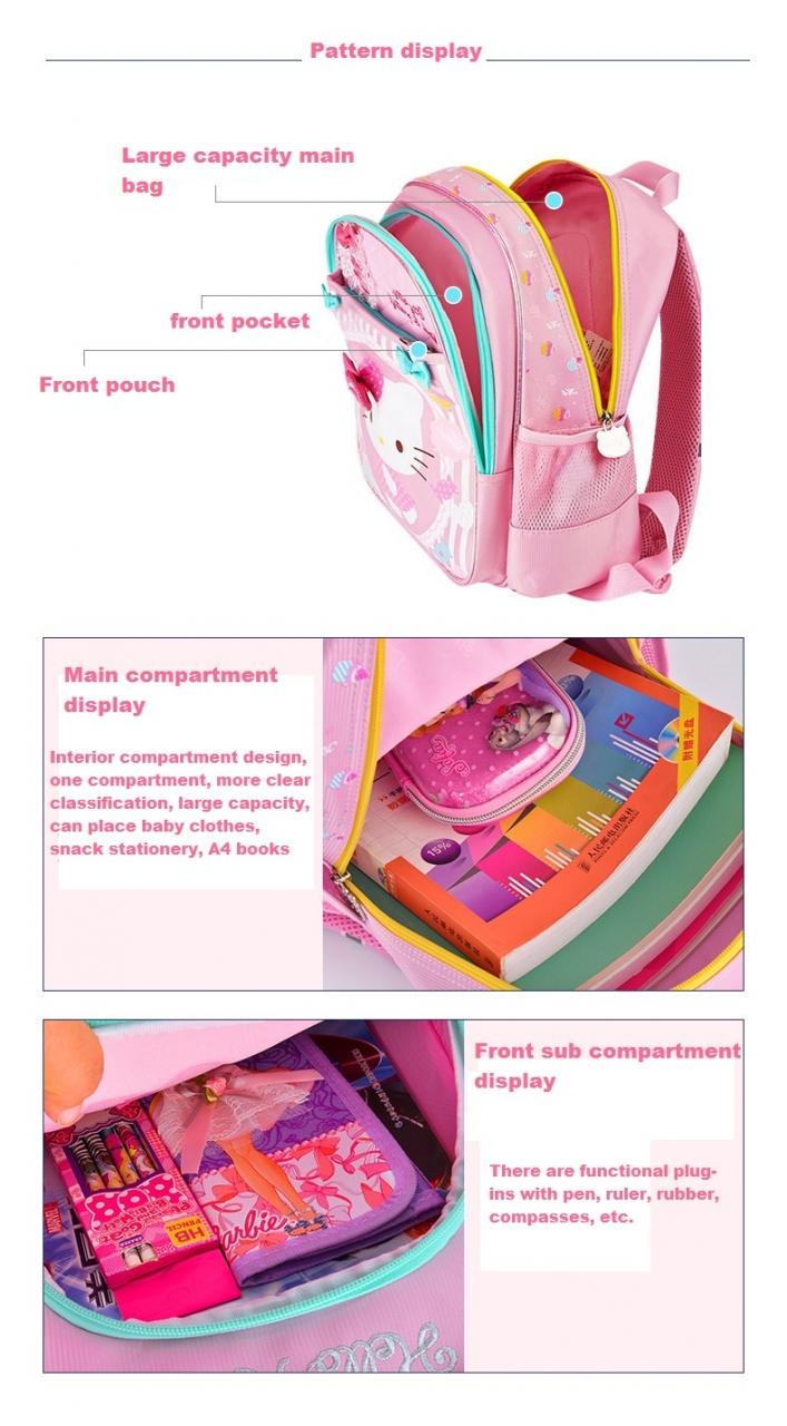 3095ec7035e Printed Kids Bags Fashion Nylon Children Backpacks for Kindergarten School  Backpacks pink. Notes