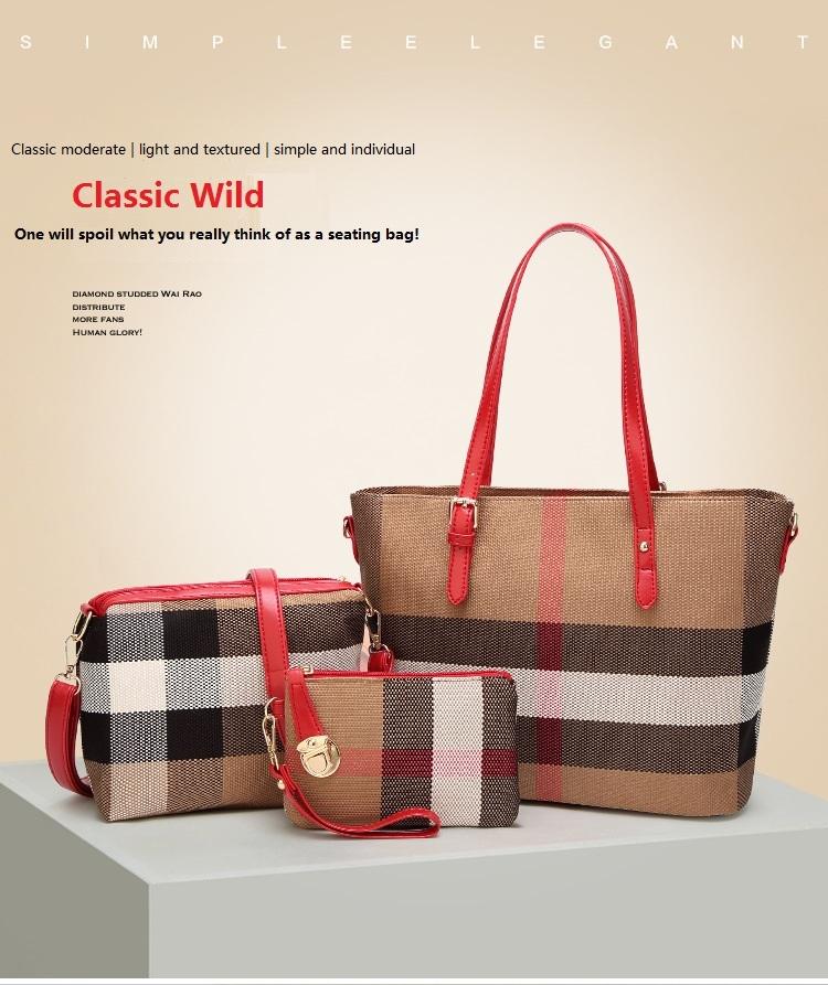 46620989c64b Women s Handbag PU large 3 Pcs Set Handbag+clutch bags+Wallets 4 Colors  tote bags one size