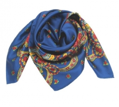 Fashion Women's silk Scarves china Culture Artistic  Silk scarf China-Africa Cultural Bridge gift blue