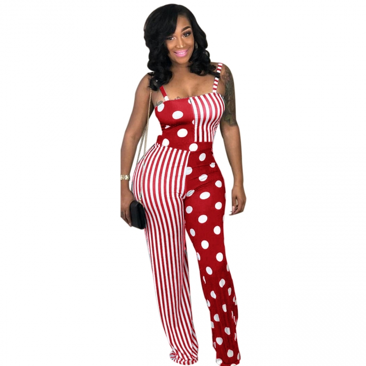 38d99cbc54 Charm Sexy Spaghetti Strap Print Women Jumpsuit Striped Dots Patchwork Wide  Legs Ladies Jumpsuits Red M