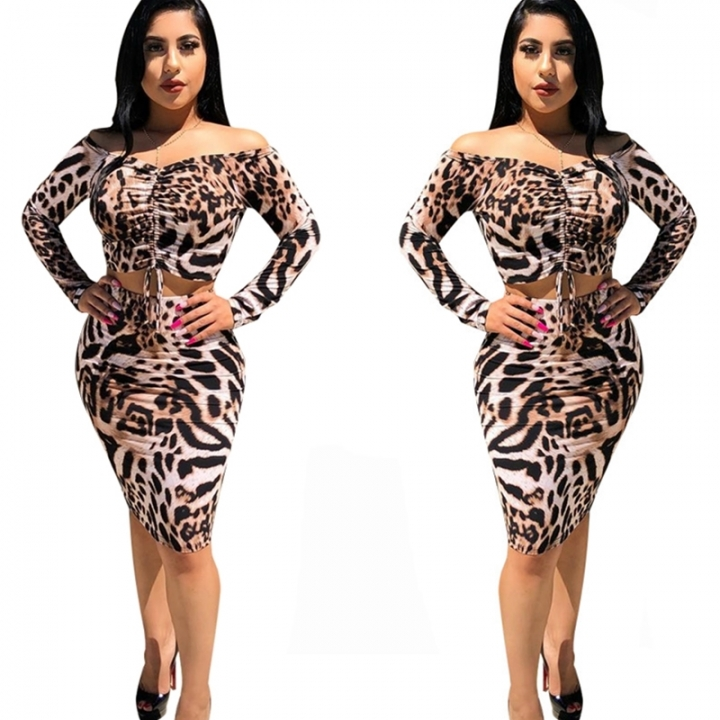 Lovely Sexy Long Sleeves Leopard Printed Two-piece Skirt Set Graphic color l 16a903c75
