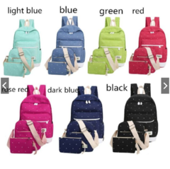High Quality Fresh Canvas Backpack Student School Bag With Purse Laptop 3pcs Set blue