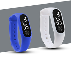 Fashion Casual Sports Bracelet Watches White LED Electronic Digital Candy Color Silicone Wrist Watch White one size