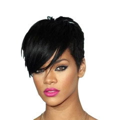 Synthetic wig fashion full headdress ladies short straight hair oblique bangs black 8 inches black 8inch
