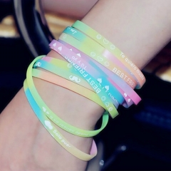 Classic fashion silicone luminous bracelet  glows Hand  jewelry accessories one size random color random Width 5mm