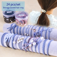 24 Pcs/Set Hair Rings Ropes Set Korean Simple hairBand Headwear Ribbon set girl makecup  Accessories random one size