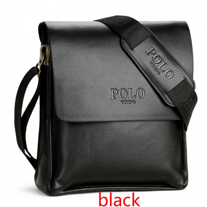New Fashion Men s business POLO PU shoulder bag Men s briefcase leisure  black small version e8d93dc33a