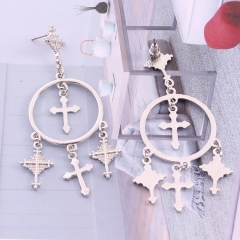 2018 New Fashion Jewelry Retro Exaggerated Ear Ornament Alloy Carving Cross Tassel Earring For Women silver Cross Tassel