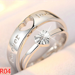 2PCS Couple ring for men and women Adjustable size Korean style rings wedding proposal Jewellery R04 adjustable size