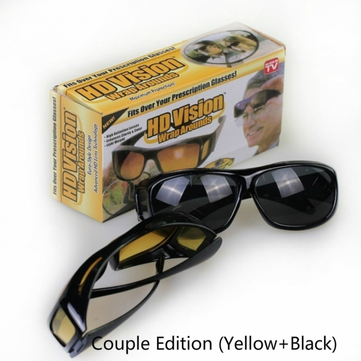 Fashion Optic Night Vision Driving Anti Glare HD Glasses Wind Protection Sunglasses for man or woman Couple Edition (Black+Yellow) 15cm * 12.8cm * 5cm
