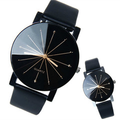 Couple watches men or women Fashion simple spot meridian ray black dial Korean version of belt watch black Couple watch(2pcs)