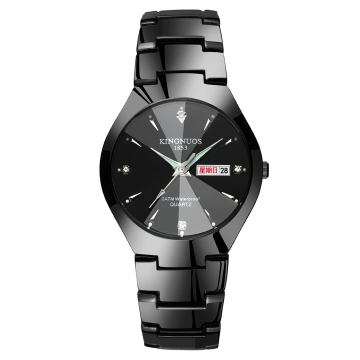 Steel belt couple quartz watch luminous double calendar watches men and ladies Black couple watch(2pcs)
