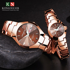Steel belt couple quartz watch luminous double calendar watches men and ladies Coffee gold couple watch(2pcs)
