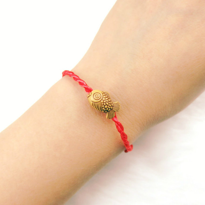 Imitation wood woven red rope bracelets accessories bracelet for men and women red adjustable