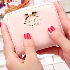 Girls wallet Leather Purse Women Bowknot Zipper Kawaii Mini Cards Holder Cute Handbag for Ladies pink 10.5 x 8.5 x 2cm