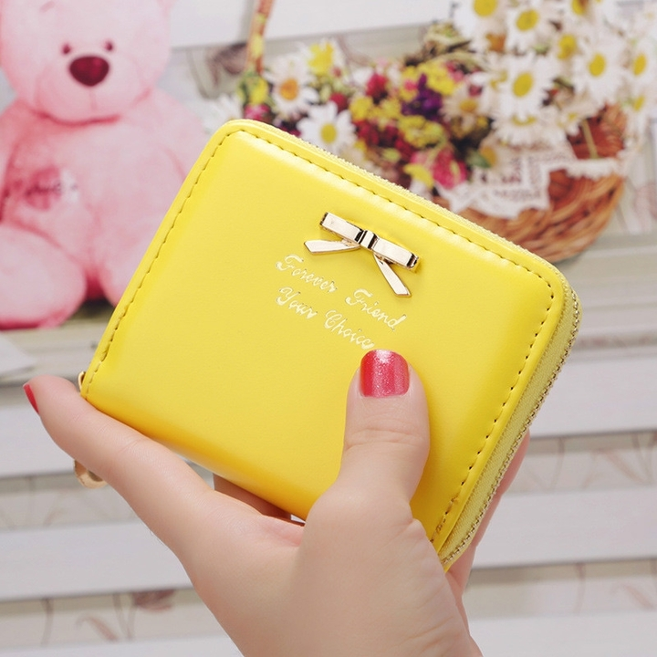 Girls wallet Leather Purse Women Bowknot Zipper Kawaii Mini Cards Holder Cute Handbag for Ladies Yellow 10.5 x 8.5 x 2cm