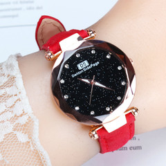 Star Sky 12 Diamond Belt watches women student ladies youth creative fashion watchs new arrival gift red one size