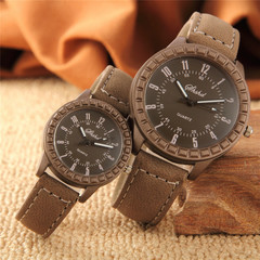 2 Pcs New Vintage leisure imitation wood pair watches men women lover couple dress quartz wristwatch all brown couple watch(2pcs)