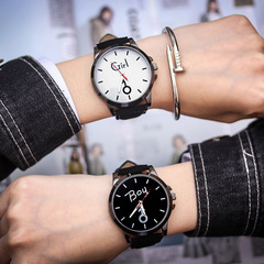 2 PCS couple watch set Korean version of the retro simple luminous watches men women quartz watched white and black couple watch(2pcs)