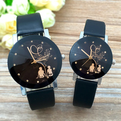 2PCS Fashion Lovers Watches Men Women Casual Leather Strap Quartz Watch Couple Watch Clocks Gifts black couple watch(2pcs)